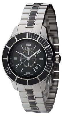 Christian Dior Women's CD11311FM001 Christal Diamond Black Dial Watch