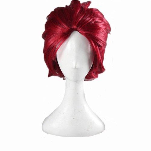 Angelaicos Unisex Lolita Layered Cool Gothic Party Cosplay Costume Wig Short Red (Akuma Halloween Costume)