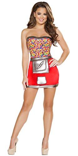 Women's Jelly Bean Machine Halloween Costume - Red/Gunmetal - Medium/Large (Jelly Bean Halloween Costume)