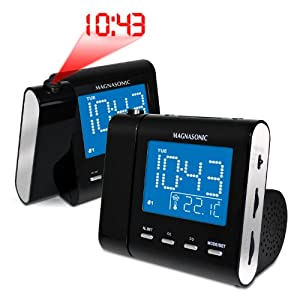 magnasonic mag mm176k am fm projection clock radio with dual alarm auto time set. Black Bedroom Furniture Sets. Home Design Ideas