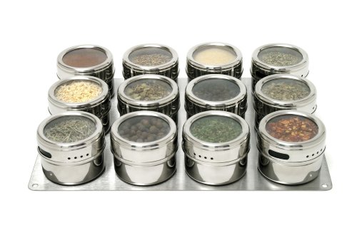 Soho Spices 12-Piece 6.5 x 33 x 24.6 cm Magnetic Spice Shaker Set with Stainless Steel Base