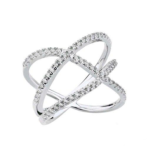 925er Silber Criss Cross X-Ringe Cubic Zirconia Verlobungsringe Trauringe