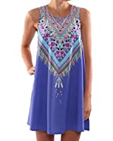 SUNNOW® 6 Farben Damen Sommerkleid Strandkleid elegant mit Blumen bedruckt Rundhals Ausschnitt ärmellos Frauen Abendkleid Partykleid Rock Modisch