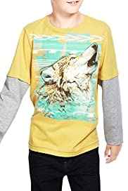 Pure Cotton Embroidered Wolf T-Shirt [T87-4889M-S]