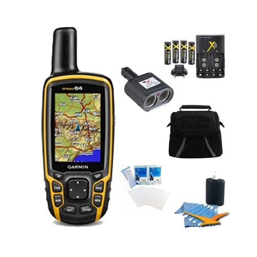 GPSMAP 64, Worldwide Handheld GPS Navigator Plus Accessory Bundle. Bundle Includes GPSMAP 64 Worldwide Handheld GPS, AA Charger w/ 4 AA Batteries, Deluxe Gadget Bag, 2 Socket Cigarette Lighter Adapter, 3pc. Cleaning Kit, and Screen Protectors for LCD's.