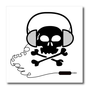 Ht_38174_3 Florene Humor - Skull And Bones With Headphones - Iron On Heat Transfers - 10X10 Iron On Heat Transfer For White Material