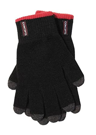 Concepts Premium Unisex Wool Black Touch Screen Gloves Red Trim Small