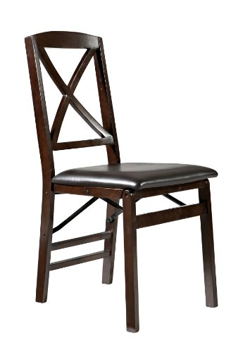 Triena X Back Wood Frame Paded Cushion Folding Chair - Espresso, Set Of 2 front-707537