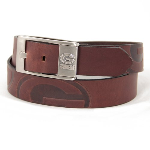 NFL Green Bay Packers Brandish Leather Belt - Brown