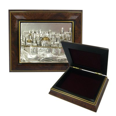 Jewelry Box Hand Crafter. Wood and Sterling Silver. Jerusalem Skyline Design. Hand Made by Israeli Artist SADD in Israel. Size: 5.25