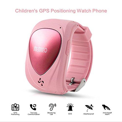 MEMTEQ® Montre Téléphone GPS SOS Alarme Traceur Surveillance Appel Rapide SOS Localisation d'Urgence Réseau Etanche pour Vos Enfants Rose