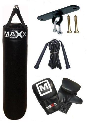 5pcs set 5ft black Rexion Leather boxing punchbag , ceiling hook rope, Gloves