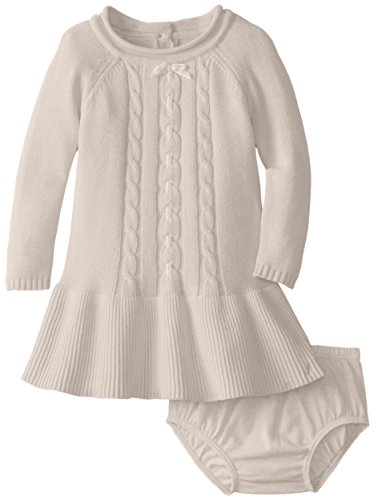 Nautica Baby-Girls Infant Cable Front Sweater Dress, Beige Heather, 18 Months back-992565