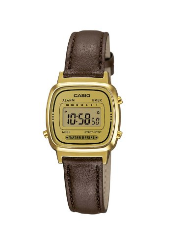 Casio Women's Quartz Watch with Gold Dial Digital Display and Brown Leather Strap LA670WEGL-9EF