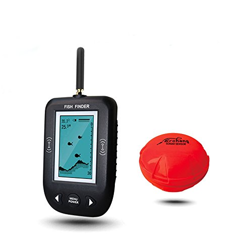 Erchang Portable Fish Finder Rechargeable & Wireless Sonar Sensor Fishfinder Depth Locator with Fish Size, Water Temperature, Alarm Transducer, Dot Matrix 45m Range (Bracket For A Eagle Depth Finder compare prices)