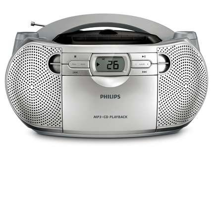Philips Boombox Sound Machine MP3 CD Player, Plays CD-R/RW with AM/FM Stereo Radio, Cassette Player with Auto Stop Cassette Deck and CD Shuffle