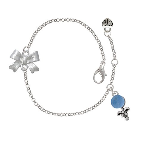Blue Baby Rattle Delicate Silver Tone Bow Bracelet front-199960