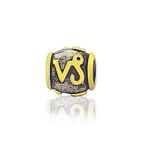 Bling Jewelry Gold Vermeil Silver Capricorn Zodiac Bead Pandora Compatible