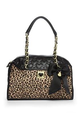 Betsey Johnson Women's Be My Wonderful Dome Satchel, Leopard/Black, One Size