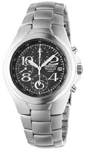 Seiko Men'S Snd335 Stainless Steel Chronograph Black Dial Watch