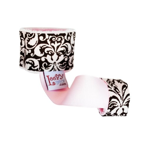 Loopy Baby Rattle Holder - Pink & Brown Damask