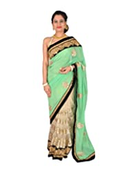 Ctc Mall Green And Gold Faux Georgette And Net Saree