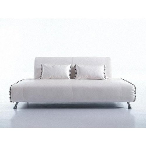 Cheap Andrea White Finish Bicast Leather Sofa Bed Futon