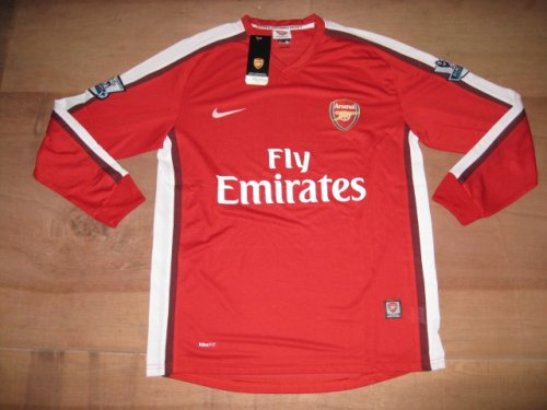 08-09 ARSENAL HOME LONG SLEEVES HOME JERSEY + FREE SHORT (SIZE L)