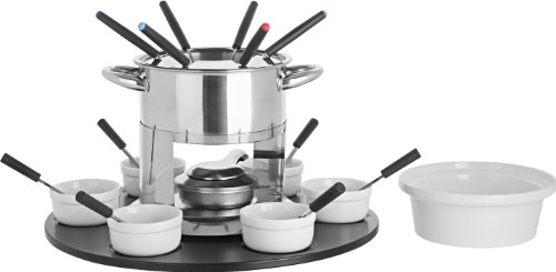 Trudeau Home Presence Laila 44 Ounce Stainless Steel Fondue Set with Double Boiler Inset and Laze Susan - 24 Piece