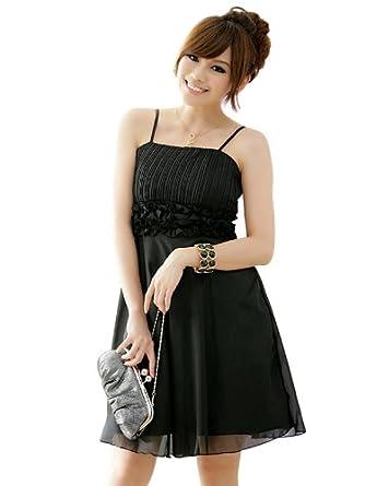 JK2 - Robe de cocktail Mousseline - froufrou à la taille noir - Taille M