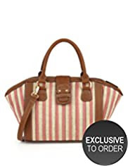 Limited Collection Double Handle Striped Bowler Bag