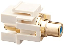 Keystone Jack - Modular RCA w/Blue Center_ Flush Type (Ivory)