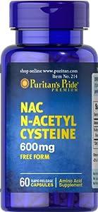 Puritan's Pride 2 Pack of N-Acetyl Cysteine (NAC) 600 mg Acetyl Cysteine (NAC) 600 mg-60 Capsules
