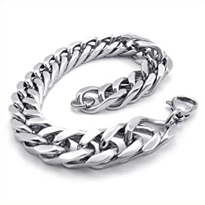 KONOV Jewelry Stainless Steel Wide Link Men's Bracelet