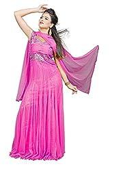 Angel Garments Pink Nayloan net Anarkali Salwar Suit(Pink)