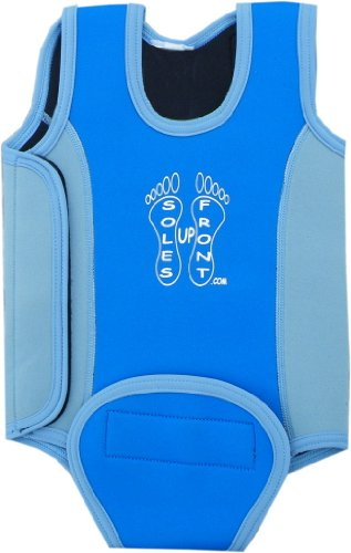 SUF 6-12 month blue baby wetsuit baby warmer neoprene wet suit for swimming pool or beach. Soles Up Front Logo. opens out flat for easy fitting.