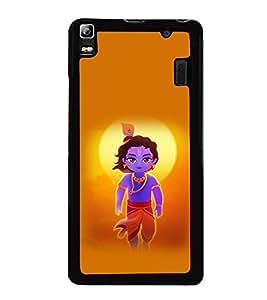 printtech Lord God Krishna Small Cartoon Back Case Cover for Lenovo A7000