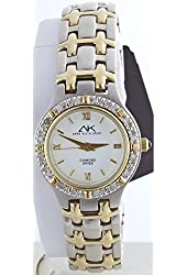 Anne Klein Women's 10/8801TTSC Crystal Accented Two-tone Quartz Watch