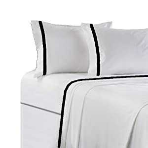 marrikas 300tc cotton bordered twin extra long white black sheet set pillowcase. Black Bedroom Furniture Sets. Home Design Ideas