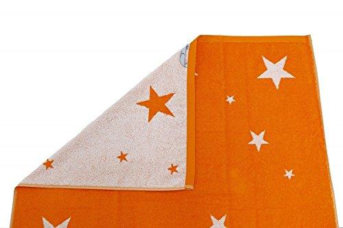 XXL Saunatuch 85x200cm Sterne Handtuch 4 Farben Auswahl Frottier Strandtuch, Farbe:Orange