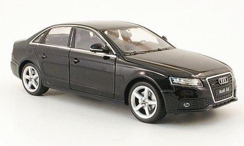 Audi-A4-schwarz-2009-Modellauto-Fertigmodell-Welly-124