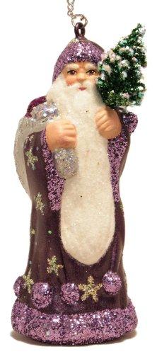 Ino Schaller Santa in Purple Coat with Silver Bag Paper Mache Christmas Ornament