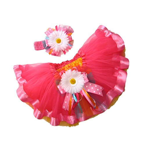 Southern Wrag Company LITTLE GIRLS Easter Tutu & Headband Set . NEON PINK RIBBON