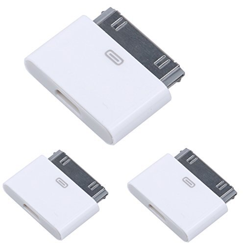 STOUCH 8 Pin to 30 Pin / 8 Pin to Micro / 30 Pin to 8 pin White Adapter For Apple iPhone 6/6 Plus/5s/5c/5 4 4S iPod iPad - 30 Pin to Micro USB - Pack of 3 (Iphone 6 Micro Usb Adapter compare prices)