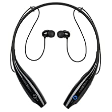 buy Kocaso Bluetooth Wireless Sports Headphones With Microphone Neck Strap Magnetized Earbuds For Easy Storage (Black)