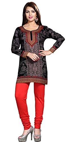 Indiano Tuniche Kurti Top Camicetta Lunga Womens India Abbigliamento (Nero, XXL)