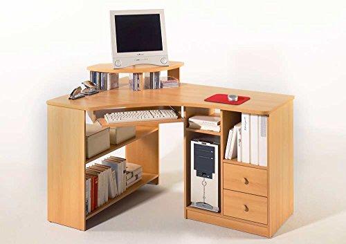 Eckschreibtisch-in-Buche-Nachbildung-mit-Tastaturauszug-und-Monitoraufsatz-2-Schubksten-5-offene-Fcher-Schenkelma-ca-137-x-97-cm