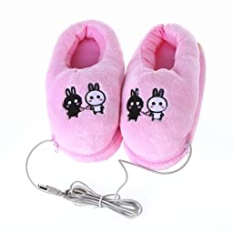 Docooler Plush USB Foot Warmer Shoes Soft Electric Heating Slipper Cute Rabbits Pink