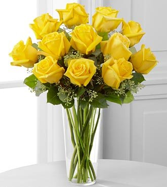 FTD Flowers Yellow Rose Bouquet With Vase -12 Stems – Delivered by a Local Florist