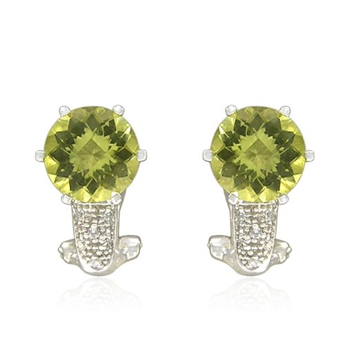 Sterling Silver Round-Shaped Lemon Quartz with Round-Cut White Topaz Accent Earrings